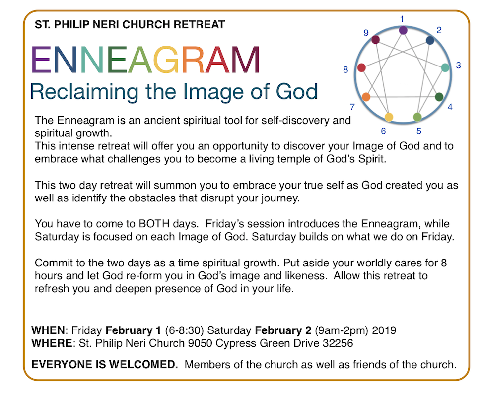 EDUCATIONAL PRACTICUM (TWO DAY):  ENNEAGRAM, Reclaiming the Image of God @ St. Philip Neri Ecumenical Church | Jacksonville | Florida | United States